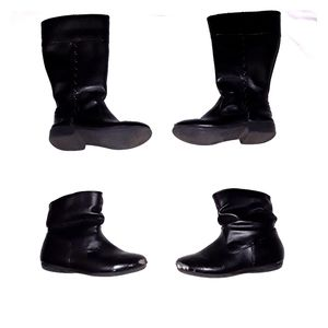 Two pairs of girls black boots